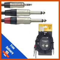 """Stagg 1m - 2m - 3m Y Lead Cable 3.5mm Stereo Jack to 2x 1/4"""" Mono Jack - Stagg"""