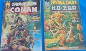 Marvel Curtis Comics Savage Tales Lot # 4 Conan The Barbarian # 8 Ka-Zar Jungle