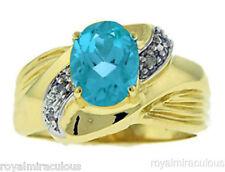 Blue Topaz & Diamond Ring 14K Yellow or White Gold