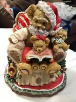 Large Sankyo Music Box Santa Claus Bear Xmas We Wish You a Merry vtg Toy Tree