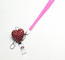 Valentine Special Rhinestone Red Heart retractable ID Badge Holder reel Lanyard
