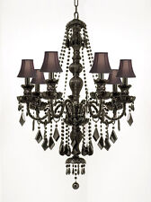 NEW! JET BLACK CRYSTAL CHANDELIER LIGHTING WITH SHADES H37