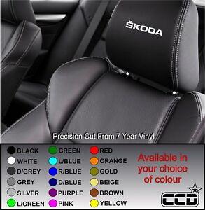 NEW SKODA CAR SEAT / HEADREST DECALS BADGE LOGO Vinyl Stickers -Graphics X5