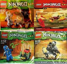 4x LEGO Ninjago rar ALLE 4 Ninjas Weiß Blau Rot Schwarz 30083 30085 30086 30087