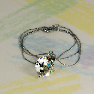 New - FASHION NECKLACE WITH LARGE FACETED  CLEAR CRYSTAL PENDANT  K117