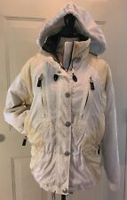 MARKER SKI SNOWBOARD JACKET / COAT WHITE AND YELLOW FULL ZIP WOMENS SIZE 8 - EUC