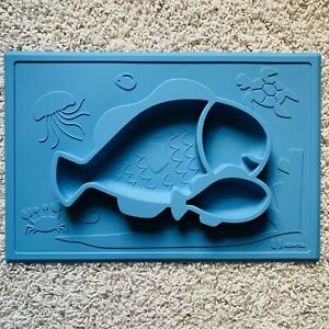 Baby Toddler Kids 100% Silicone Food Grade Placemat Feeding Plate Blue Fish NWT!