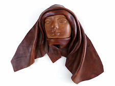 Vintage Artisan Leather Mobled Face Shrouded Sculpture WALL DECOR