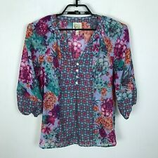 Fig and Flower Shirt Womens S Chiffon 3/4 Sleeve Blouse Teal Pink Purple Top