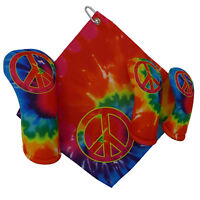 Tie Dye Peace Sign Golf Club Head Covers & golf towel (SOLD SEPARATELY) USA made