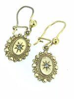 Viktorianisch Gold Diamant Ohrringe Tropfen 375 9CT Stern von Destiny Elegant