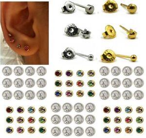 NEW EAR PIERCING STUDS EARRINGS STERILE STUD GOLD SILVER CERTIFIED LOBE SURGICAL