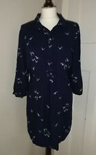 JOULES Ladies Navy Blue Bird Print Dress Long Top Size UK 18 3/4 Sleeve