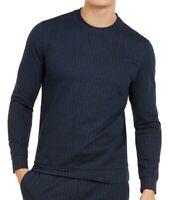 Alfani Mens Sweater Navy Blue Size Large L Stripe Knit Crewneck Stretch $65 185