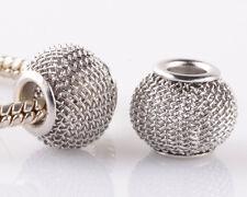 5pcs gray gauze hollow big hole spacer beads fit Charm European Bracelet CH944