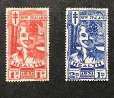 NEW ZEALAND 1931 FIRST SEMIPOSTALS SCOTT B3-4, SMILING BOYS MLH. (W7)