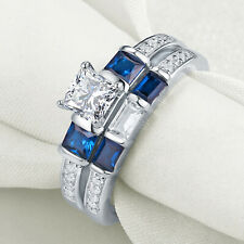 Blue Sapphire 925 Sterling Silver Size 5 New listing Engagement Wedding Ring Set Emerald Cz
