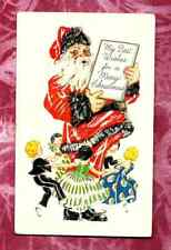 1939 SANTA CLAUS CHILDREN DANCING BLACK CUFF CHRISTmas HOLIDAY POSTCARD
