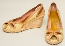 TED BAKER brown leather yellow canvas wedge high heel rope peep toe shoes
