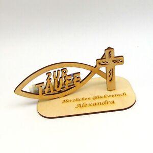Geldgeschenk zur Taufe Personalisiert mit Namensgravur Christlich mit Fisch Holz