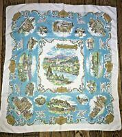 """Souvenir Tablecloth Scottish Castles Vtg 50s 32 x 35"""" White Brown Blue Purple"""