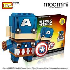 Captain America Brick Headz Loz Marvel Mini Blocks Collector Desktop Toy NEW