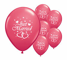 "10 JUST MARRIED DARK PINK 12"" HELIUM QUALITY PEARLISED WEDDING BALLOONS"