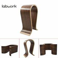 New Shape Wood Headphone Earphone Stand Hanger Holder Desk Display Shelf Rack
