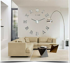 Silver Luxury Oversized Roman Number Frameless Large Wall Clock 3D Home Decor