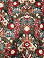 Vtg MARGIN DESIGNS Fabric Floral Red Greens Multi (5+ Yd) Wyngard Screen Printed