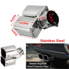 "63mm / 2.5"" Stainless steel Chrome Car Dual Exhaust Tip Square Tail Pipe Muffler"