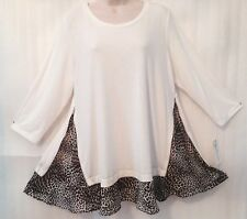 Ivory Black Woman Knit Pullover Layered Hem Stretch Top size 14/L New 3/4 Sleeve