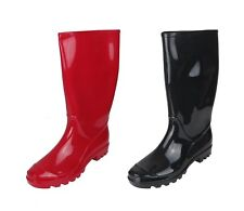 """Women's 13.5"""" Rain Boot Waterproof Soft Rubber Shoes Red & Black Sizes 6-11 New"""