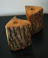 PAIR OF RUSTIC Vintage Natural Wood Raw Edge Bark Candle Holder Candlestick