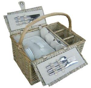 Willow Premium Antique Wash Lidded 4 Person Picnic Hamper wedding/birthday gift