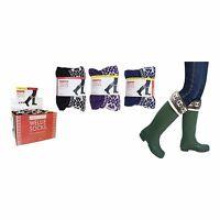 Ladies Girls Fair Isle Top Fleece Wellie  Boot Socks Liners with Cuff New
