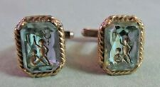 Mens Vintage HAND ETCHING in GLASS CUFFLINKS Costume Jewelry F91