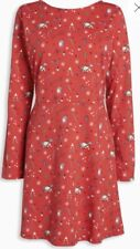 Ladies Next Petite Red Pattern Christmas Dress Size 6