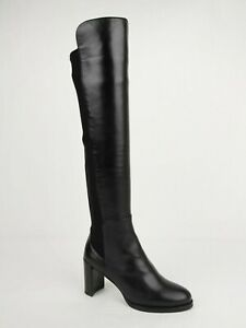 Stuart Weitzman Women's Lowjack Black Dress Leather Heel Knee-High Boot 8M