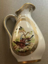 The Franklin Mint Fine Porcelain Creamer Pitcher Floral & Birds Gold Gilt