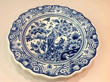 VTG DELFT BLUE AND WHITE WALL PLATE W/ MAJESTIC PEACOCK LOOKING LEFT