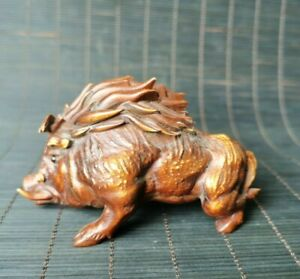 Exquisite Natural Boxwood Hand Carved ferocious wild boar Statue figurines pig