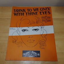 Vintage 1936 Drink to Me Only With Thine Eyes - Piano Guitar Ukulele Sheet Music
