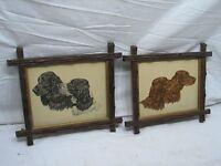 Pr Vintage Adirondack Hand Carved Wooden Framed Paul Wood Spaniel Prints