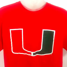 Miami Hurricanes T Shirt Orange Cotton NCAA Mens Medium