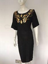 BNWT Vintage Black Gold Bead Sequin Shift Wiggle Dress UK 16 EU 44 US 12