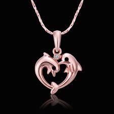 18K Gold Necklace Pendant Dolphin Zirconia B79
