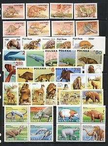 Dinosaurs and other Prehistoric animals mnh vf stamp collection, 2 imperf sets