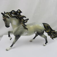 Breyer Andalusian stallion Statue Custom Painted Grey White Face Glossy Finish