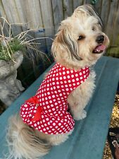 Cute Red & White Polka Dot PARTY/Birthday Dog Dress Bow Clothing Pet Frosty Paw